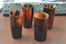 """4 Cups - Dyed Red Buffalo Horn Medieval Drinking Ale Shot Cup 5"""" #Ye"""