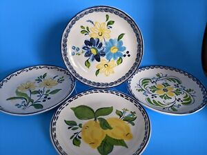 "Williams Sonoma 4 Aerin Appetizer Plates 6.5"" - Seville Yellow Blue White"