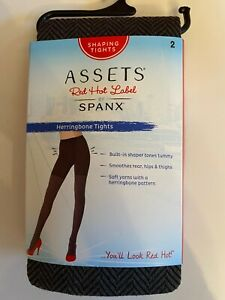Assets Red Hot Label by Spanx Brown Black Herringbone Shaping Tights Size 2 NEW