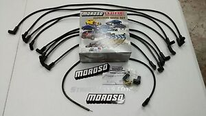 Moroso Big Block Chevy 454 7.4L Spark Plug Wires, 90 Deg Boots, HEI Under Header