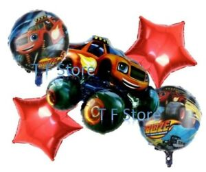 5 Pcs Kids Birthday Party Blaze and The Monster Machines Themed Foil Balloons Uk
