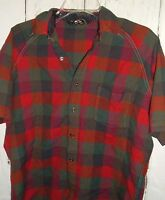 Vintage Towncraft Pennys Plaid Wool Short Sleeve Shirt Mens L Hipster Grunge