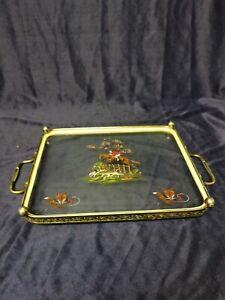 Vintage Fox & Hound Hunting Scene Glass Tea / Drinks Tray