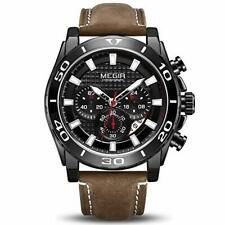 MEGIR Men's Quartz Watch Leather Band Military Chronograph Analog Wristwatch