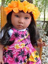 "Reborn 22"" Hawaiian  girl  doll ""Leilani ""  Kinderland American Kids +fun extras"