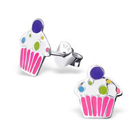 New Childrens Girls Sterling Silver Cute Cupcake Stud Earrings BOXED Pink Pair