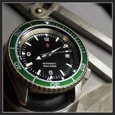 Seiko SKX Planet Ocean Mod Custom Diver's Watch Green Bezel Insert+Horween Strap