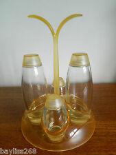 Great Guzzini 1970's Retro Glass /Plastic Condiment Set with Oil and Vinegar