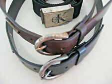 Calvin Klein Jeans Black/Brown Lot/3 Women'S Belts Lg Leather/Web Vintage 1980s