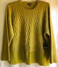 Simply Vera Wang Womens Long Sleeve Crewneck Knit Sweater Lime Verbena 2XL NEW
