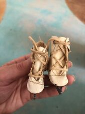 "Vintage 2 1/2""  Ivory Oil Cloth Ice Skates  Mary Hoyer Doll"