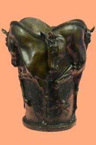 Solid French Bronze Four Horse Vase Planter Hot Cast Lost Wax Method Statue DEAL