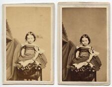 CUTE LITTLE GIRL IN DRESS W/ BOWS BY FREDRICKS, NY, SET OF 2 ANTIQUE CDVS