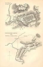 GUERRA D'INDIPENDENZA SPAGNOLA Mappa/piano di battaglia BATTAGLIA ~ Assedio di Taragona Disegno esplicativo