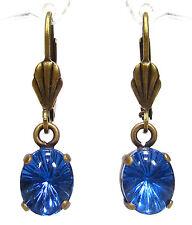 SoHo® Ohrhänger vintage bohemia Glas 1960´s blue star blau handmade bronze Köln