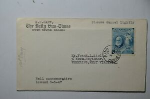 Canada 274 Alexander Graham Bell FDC FIRST Day Canada Postmarked Owen Sound ..I2