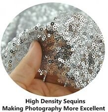 4Ftx6Ft Silver Shimmer Sequin Fabric Backdrop Curtain Panel Handmade Photo Booth