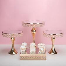 Metal Mirror Cupcake Display Stand Crystal Ornament Cake Pedestal