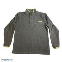 Columbia PFG 3/4 Snap Fleece Mock Neck Jacket Men's Med Gray Lime Green