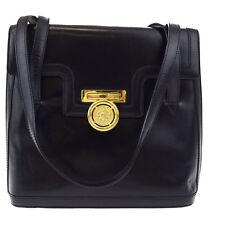 Authentic CELINE PARIS Logos Shoulder Bag Leather Black Gold Italy 04W868