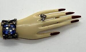 Best Ever 1930's Celluloid Hand Motif Brooch Ever! Bracelet & Ring