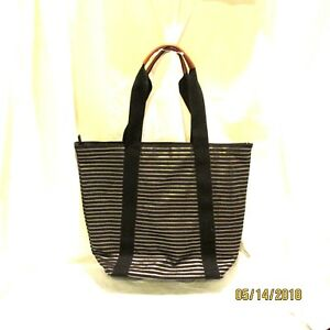 Bath and Body Works Overnight Bag Black Metallic NWT Faux Leather