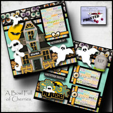 SPOOK HOUSE ~ halloween haunted 2 premade scrapbook pages printed paper ~ CHERRY