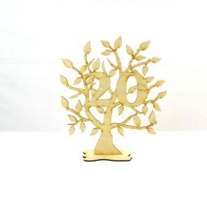 Jubiläumsbaum zum Geburtstag aus Holz, 28cm,Geschenk,mit der Zahl 20