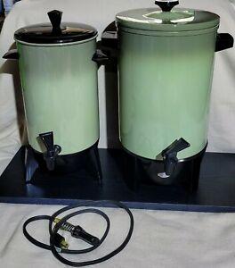 Set of 2 West Bend Vintage 22&30 Cup Electric Percolators Avocado Green VGC