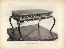 Stampa antica TAVOLINO CINESE LACCATO CINA CHINA 1922 Antique print T.23