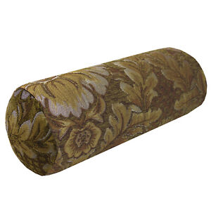 """We58g - (6""""x22"""") Olive Brown Peony Flower Leaf Bolster Case Cushion Cover"""