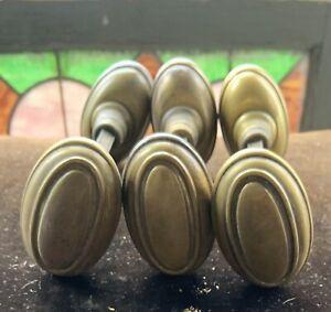 6 Match Or 3 Pair Antique Oval Solid Brass Doorknobs W Rod & Set Screws
