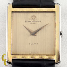 Baume & Mercier Φ Square Gold-Plated Quartz Watch w/ Leather Band 4749