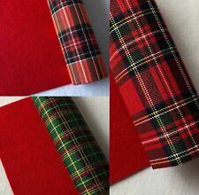 Hoja De Fieltro posterior de tela de algodón A4 Rojo Tartán Navidad Arco Maker Brillo Die Cut