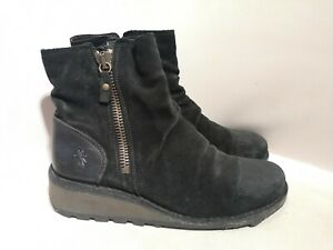 Black Suade Fly London zip up ankle Boots Size 39 Uk6