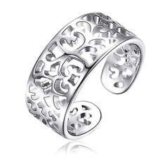 925 Solid Sterling Silver Filigree Adjustable Open Toe Finger Ring Hollow Flower
