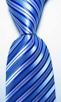 New Classic Striped Light Blue White JACQUARD WOVEN 100% Silk Men's Tie Necktie