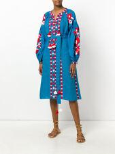 Bright embroidered blue dress boho style ukrainian ethnic vyshyvanka. All sizes