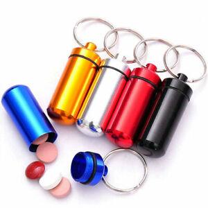 Keyring Tablets Medicine Container Pill Box Aluminium Key Chain Drug Holder NEW