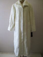 $320 PAMELA MCCOY COLLECTION WHITE FAUX LONG COAT SIZE L - NWT