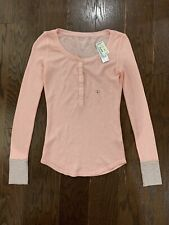 aeropostale Womens Longsleeve Light Pink Knit Night Shirt Button Size Small