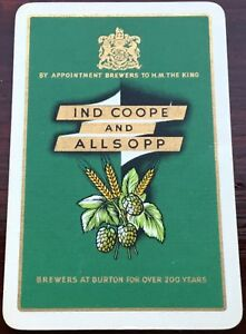 Playing Cards 1 Single Card Old IND COOPE & ALLSOPP Brewery Advertising Art BEER
