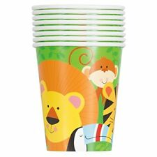 16 X ANIMAL JUNGLE  PAPER CUPS 270ml CHILDRENS BIRTHDAY PARTY TABLEWARE LION