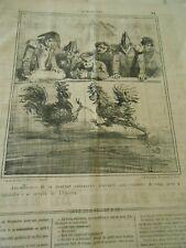 Caricature 1862 - Officiers de la marine cuirassée envoyés aux combats de Coqs