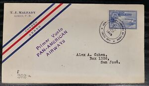 Costa Rica Pan Am Internal First Flight Cover Limon - San Jose 29/12/1928