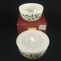 Set of 2 Stackable Bowls by Lenox HOLIDAY DIMENSION Ivory Holly and Berries