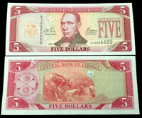 Liberia 5 Dollars 2003 Banknote World Paper Money UNC Currency Bill Note