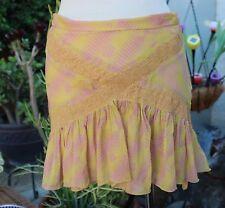 Marc Jacobs Silk Skirt Yellow & Pink Print Flirty Double Layer Sz 2