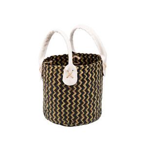 Handcrafted Woven Straw Bag Women Seagrass Round Basket Handbag Beach Fashion