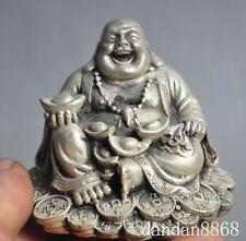 Chinese Buddhism Silver Happy Laugh Maitreya Buddha hold Yuanbao Wealth Statue